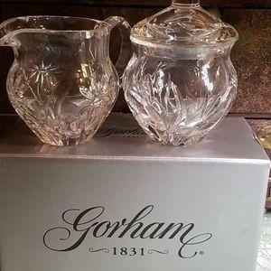 Gorham Made In Poland Crystal Creamer Sugar